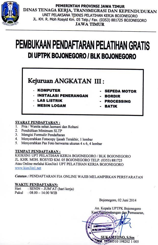 Pengumuman resmi dari UPTK Bojonegoro